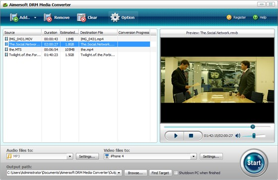 Aimersoft DRM Media Converter Screenshot