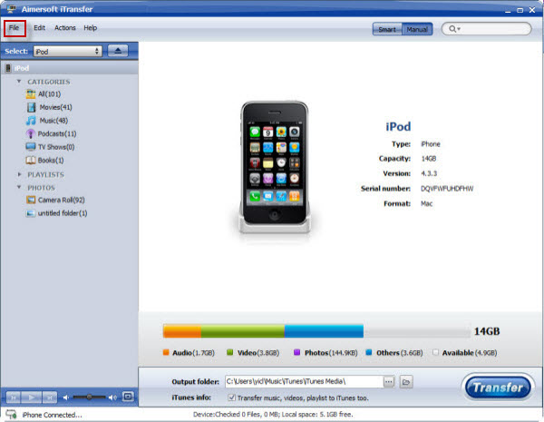 Aimersoft iTransfer Screenshot