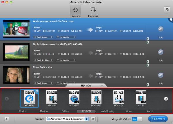aimersoft mac video converter output