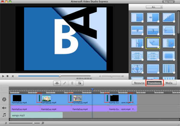 aimersoft mac video studio express transition