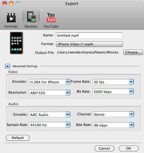 aimersoft mac video studio express export