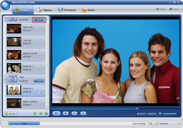 Home videos to DVD