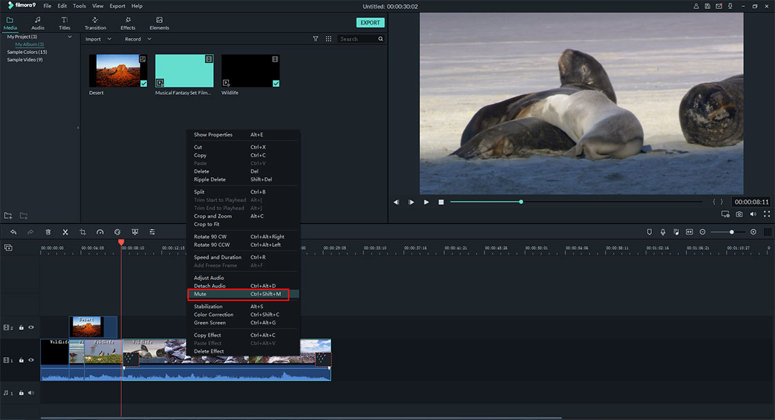 delete audio from video