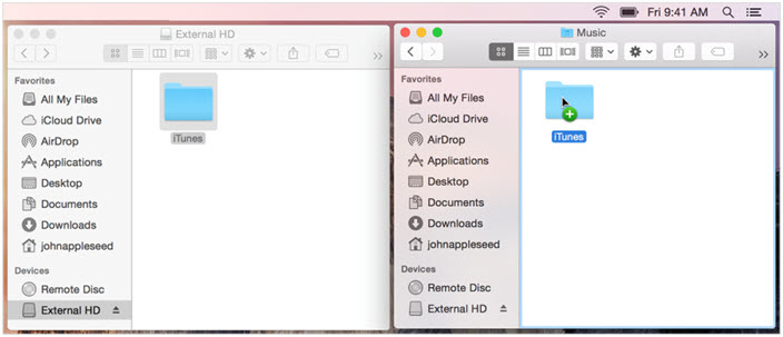iTunes Library location-mac-from the external drive