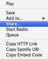 share playlists on Spotify-launch spotify and select share