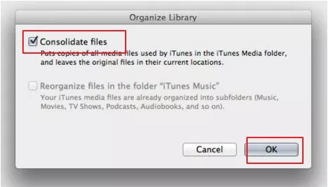 Merge two itunes with Mac- select reorganize files