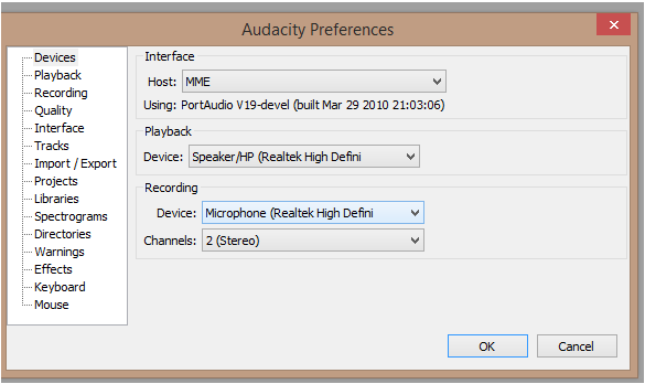 record audio from youtube with audacity