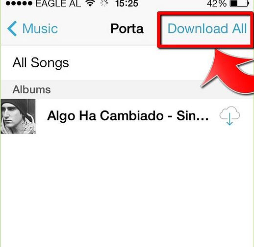 Download icloud music to itunes- click download all button