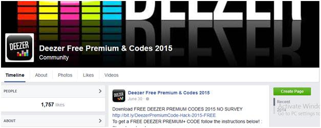 Deezer Premium - visit the Facebook page