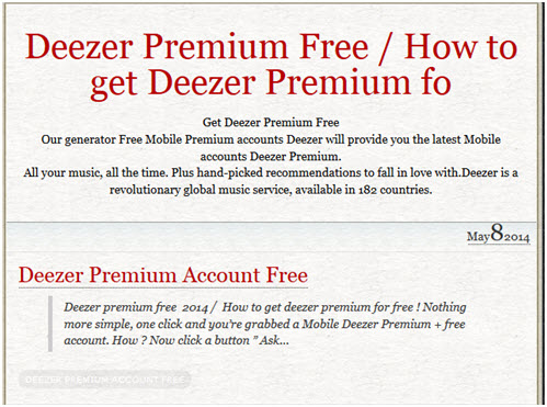Deezer Premium - view the detailed information