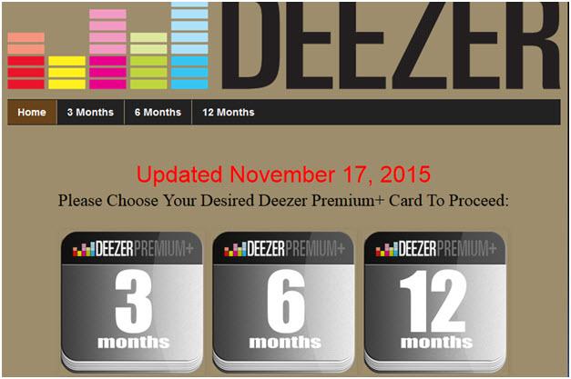 Deezer Premium - Through online blog