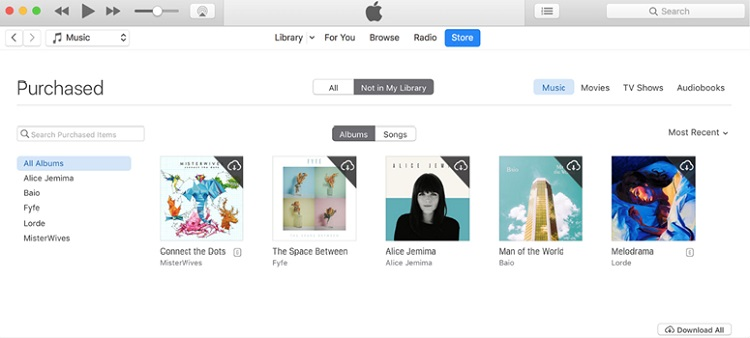 Download icloud music to itunes- click download all