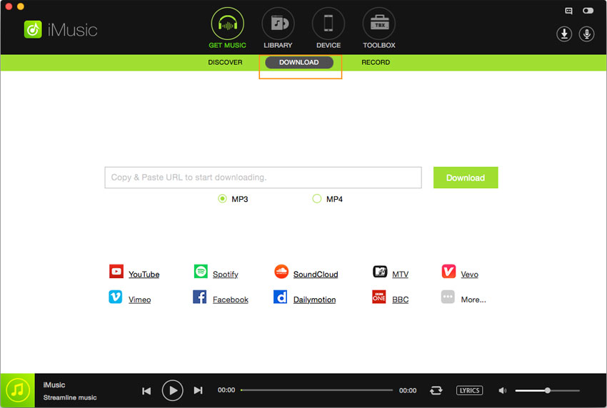 Download music from Deezer to MP3- Go to get music page