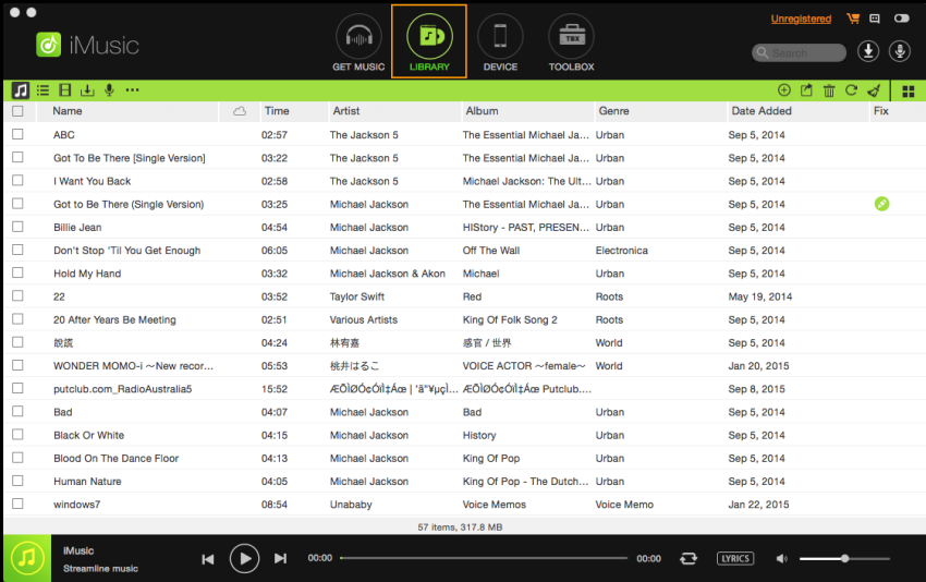 iMusic music library page