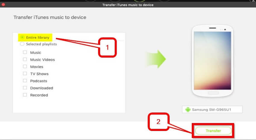iTunes to Android Transfer: Move Music from iTunes to Android   -Begin the transfer