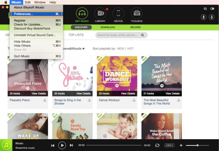 iMusic settings toolbar