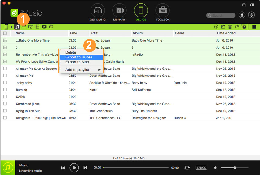 Export Music from iPhone/iPod/iPad to PC/Mac