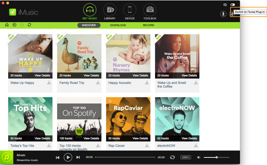 Switch from iMusic Window and iTunes Plug-in