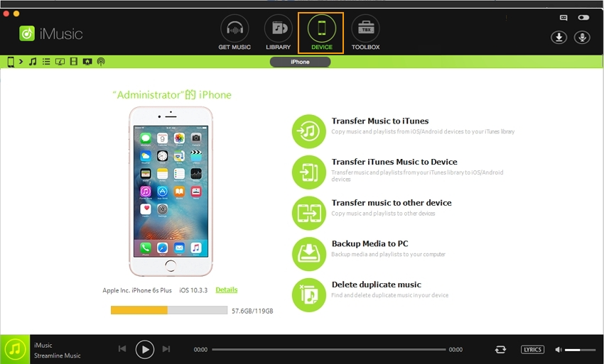 Use Free Software to Get Music from Computer to iPhone without iTunes-launch iMusic tool