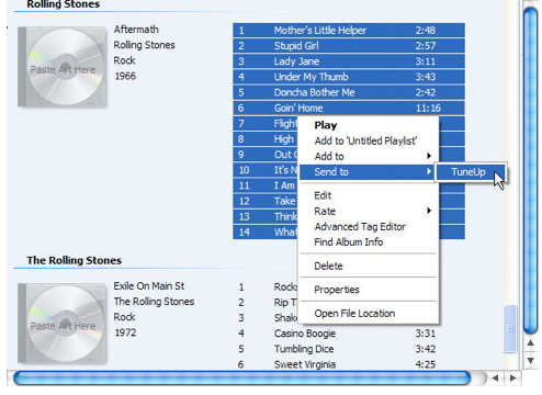Clean Up iTunes Music Library-select send to