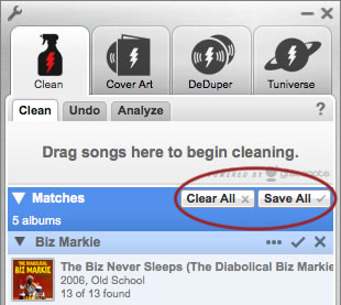 Clean Up iTunes Music Library-click save all