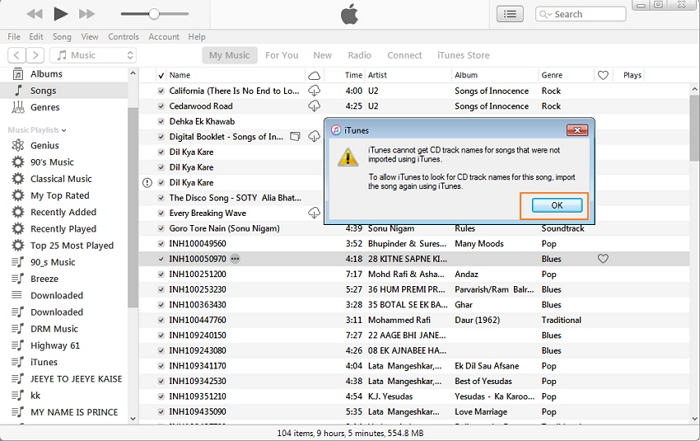How to get track names on iTunes-Edit track names manually