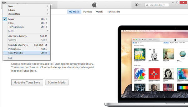 itunes library disappeared-restore iTunes Playlists-menus of iTunes