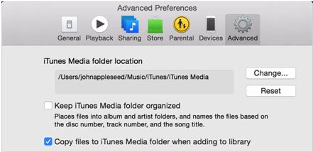 itunes library disappeared-restore iTunes Playlists-Advance tab