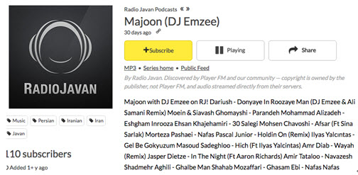 Hot Radio Programs on Radio Javan-Majoon (DJ Emzee)