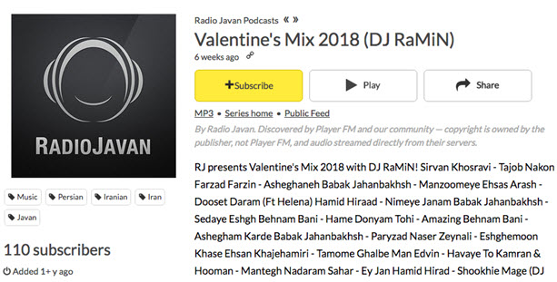Hot Radio Programs on Radio Javan- Valentine's Mix 2018 (DJ RaMiN)