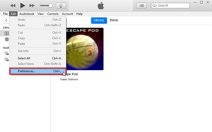iTunes Audiobooks-change itunes preference