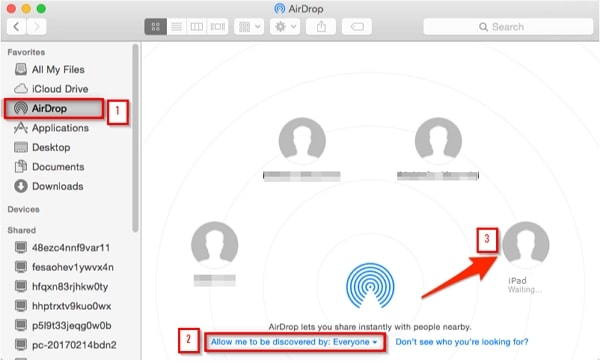 Transfer Files from Mac to iPad- launch airdrop