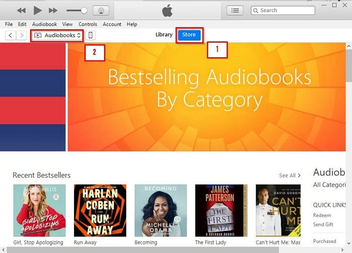 iTunes Audiobooks-go to the store tab