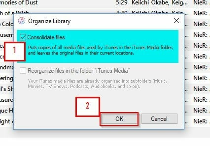 Export iTunes Library to Different Platform/Device-consolidate files