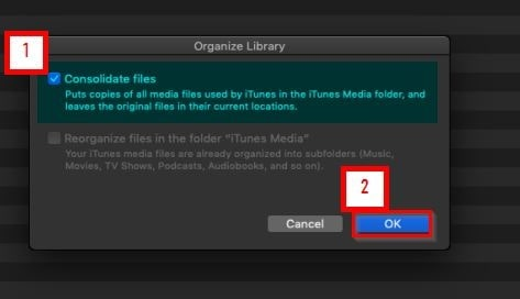 How to Get Apple Music on Computer-select consolidate files option