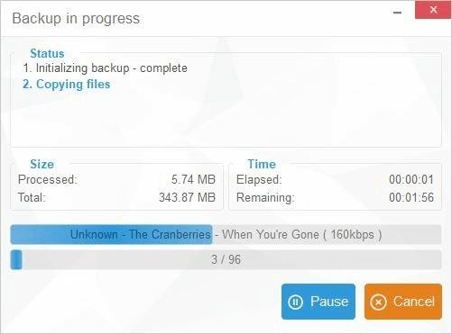 CopyTrans Manager Review-wait for backup