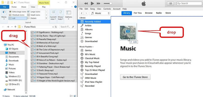 How to Upload Music to iTunes    -Drag and Drop songs to itunes library