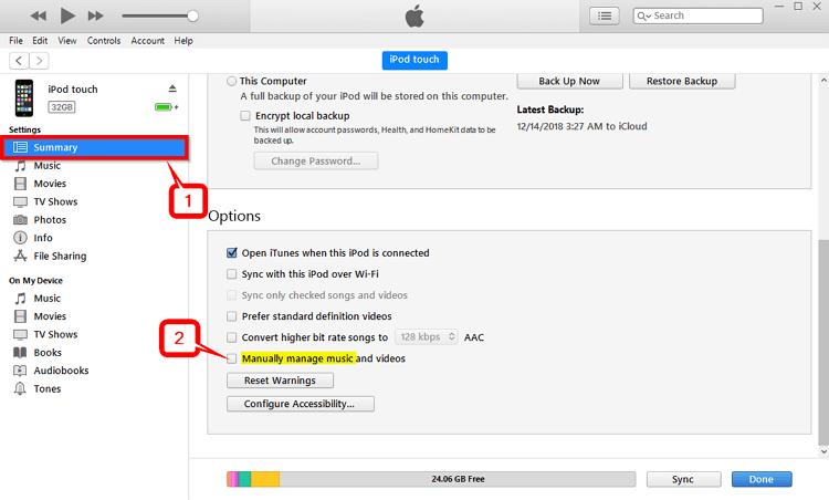 How to Put Songs on iPod -Manually manage music