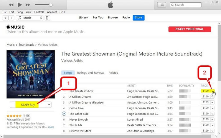 How to Put a Song on iTunes-begin to download