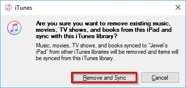 Transfer Music from PC to iPad-click remove and sync button