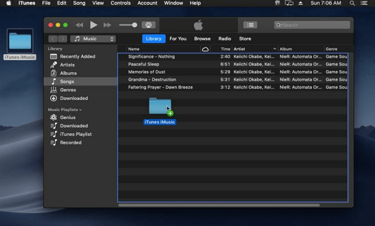 How to Transfer Music to iTunes-drag and drop the folder