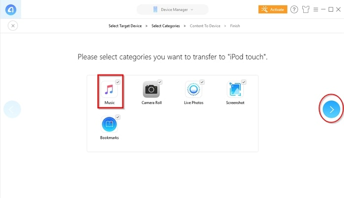 How to Transfer Music from iPad to iPod- click right arrow button