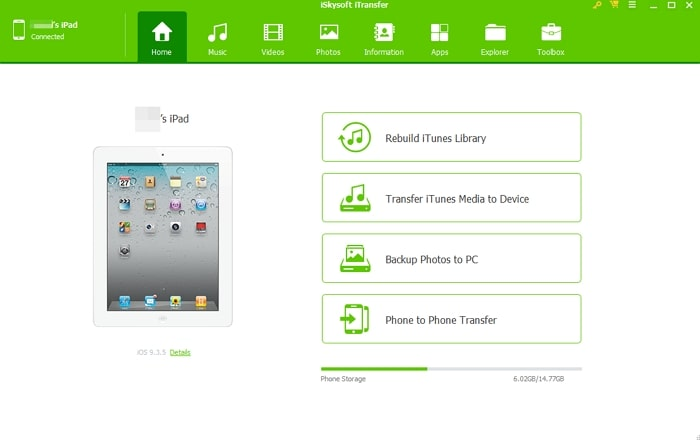How to Transfer Data from One iPad to Another- iSkysoft iTransfer