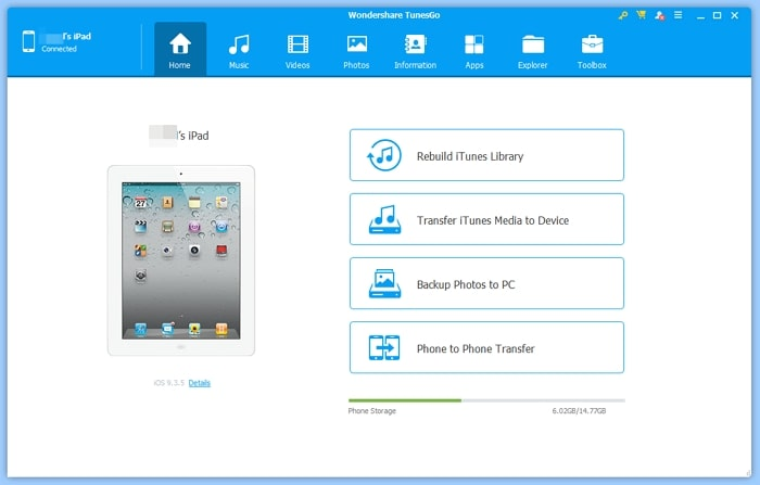 How to Transfer Data from One iPad to Another- TunesGo (iOS)