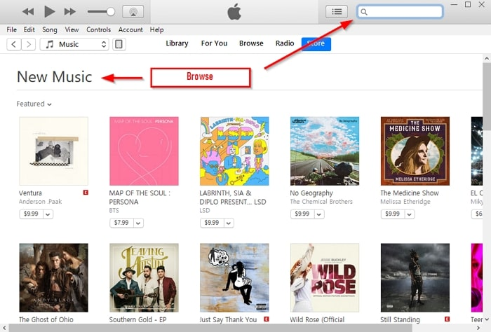 How to Purchase Music on iTunes-broswe for music