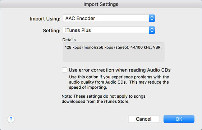 Convert iTunes Songs to MP3-import settings