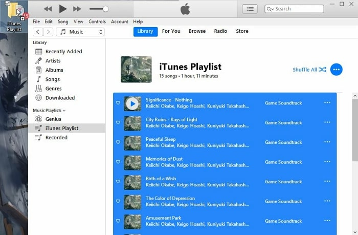 How to Export iTunes Playlist-drag and drop items