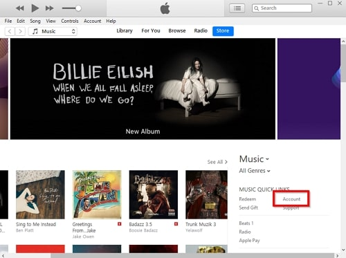 How to View iTunes Purchases-select itunes account