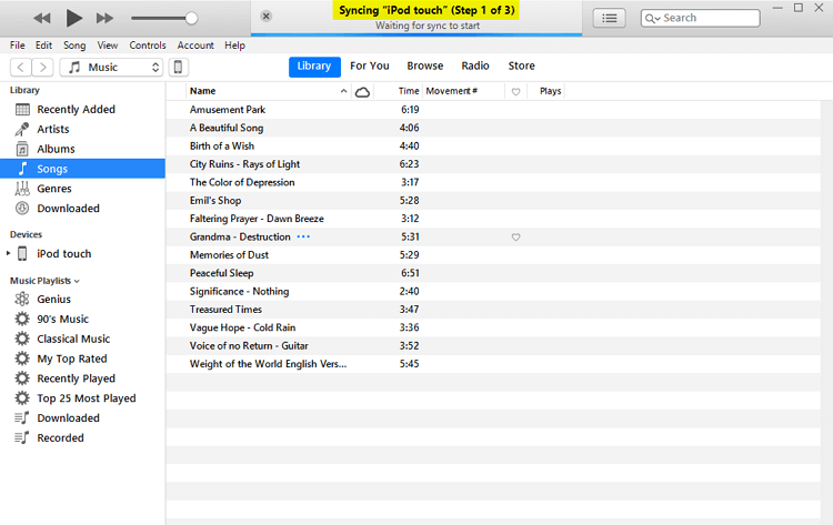 2 Useful Ways to Transfer Music from iPod to iTunes Free -Wait for Sync