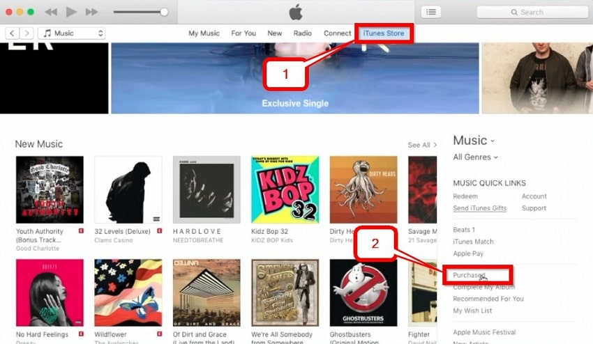How to View iTunes Purchases-select itunes store option